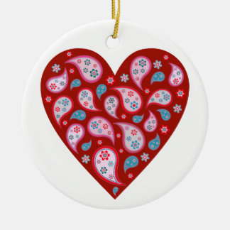 Red Paisley Pop Heart Ornament