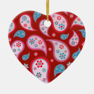 Red Paisley Pop Love Heart Ornament