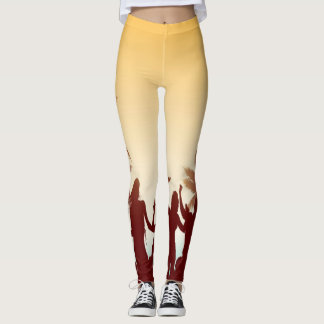 Red Palms Leggins Leggings