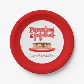 Red Pancakes and Pajamas Birthday Party Paper Plate