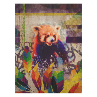 Red Panda Abstract vintage pop art composition Tablecloth