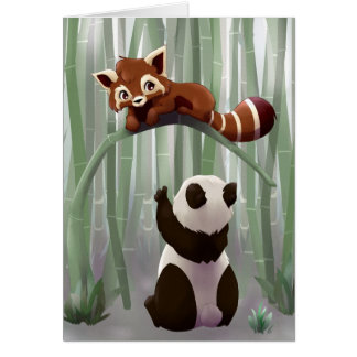 Red panda and panda bear cub greeting card