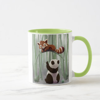Red panda and panda bear cub mug