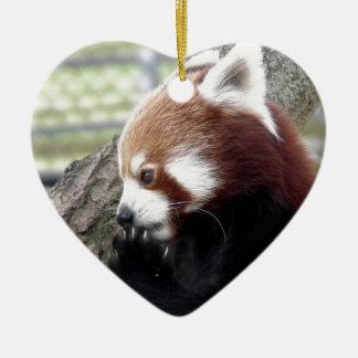 Red panda ceramic heart decoration