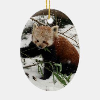 Red panda ceramic oval decoration