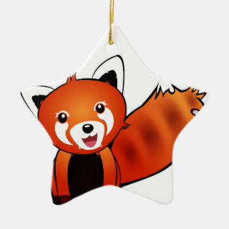 Red panda ceramic star decoration