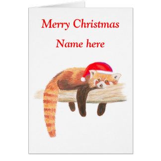 Red Panda Christmas card, customisable Card