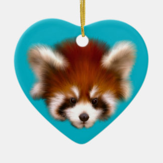 Red Panda Design Ceramic Heart Decoration