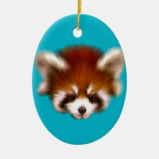 Red Panda Design Ceramic Oval Decoration