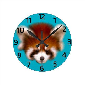 Red Panda Design Round Clock
