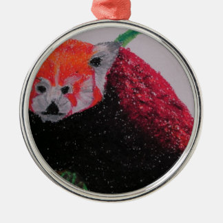 red panda in winter christmas ornament