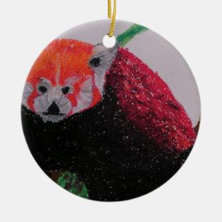 red panda in winter round ceramic decoration