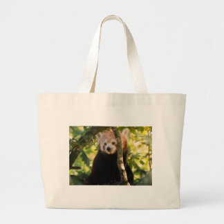 Red panda large tote bag