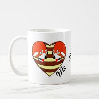 Red Panda Love heart Basic White Mug