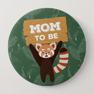 Red Panda mom to be baby shower button