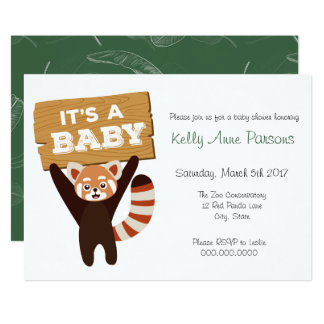 Red Panda new baby Jungle Baby Shower Invitation