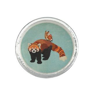 Red Panda & Owl Blue Ring
