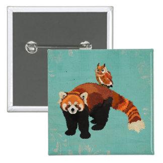 Red Panda & Owl Button