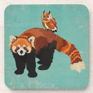 Red Panda & Owl Coaster