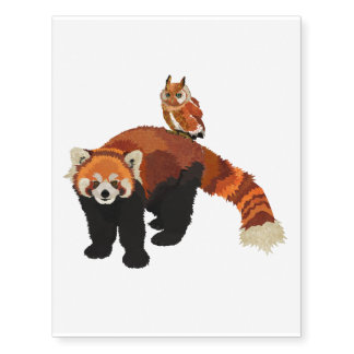 Red Panda & Owl Temporary Tatoo