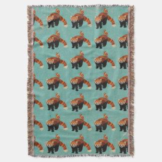 Red Panda & Owl Throw Blanket