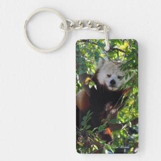 Red Panda Rectangular Key Chain - Lounging