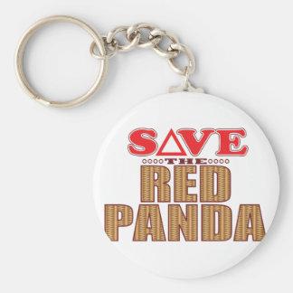 Red Panda Save Basic Round Button Key Ring