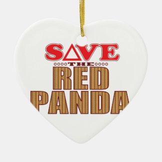 Red Panda Save Ceramic Heart Decoration