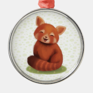 Red Panda Silver-Colored Round Decoration