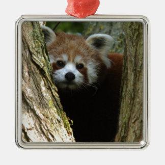 Red panda Silver-Colored square decoration