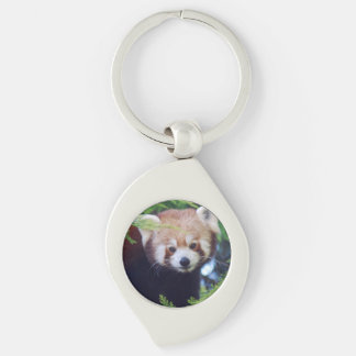 Red Panda Silver-Colored Swirl Key Ring