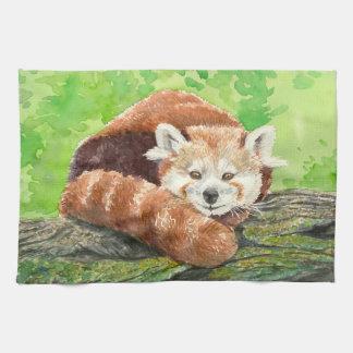 Red panda tea towel