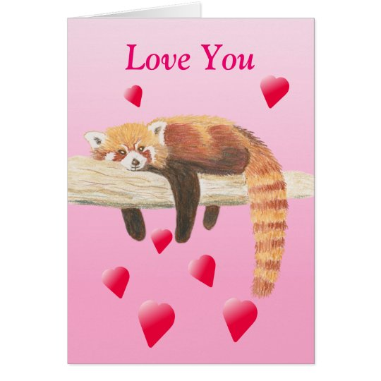 Red Panda Valentines Card