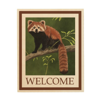 Red Panda - Welcome Wood Canvas