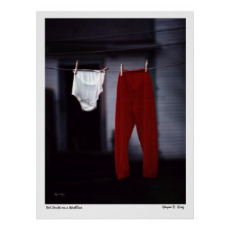 Red pants on a washline poster