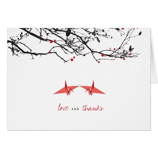 Red Paper Cranes Photo Wedding Thank You Note