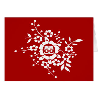 Red • Paper Cut Flowers • Double Happiness Card