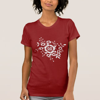 Red • Paper Cut Flowers • Double Happiness T-Shirt