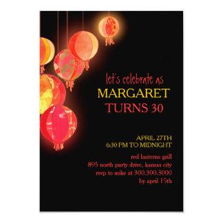 Red Paper Lanterns 30th Birthday Party 13 Cm X 18 Cm Invitation Card