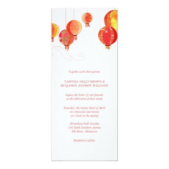 Red Paper Lanterns Chic Wedding Invitation