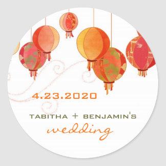 Red Paper Lanterns Wedding Save the Date Classic Round Sticker