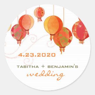 Red Paper Lanterns Wedding Save the Date Round Sticker