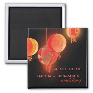 Red Paper Lanterns Wedding Save the Date Square Magnet