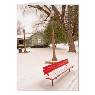 Red Park Bench Holiday Greeting Card