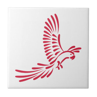 Red parrot small square tile