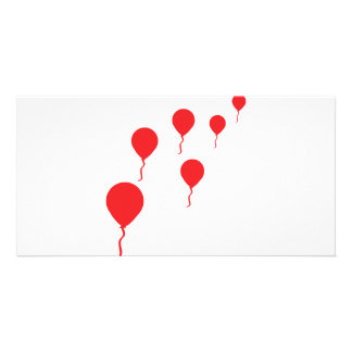 red party balloons icon custom photo card