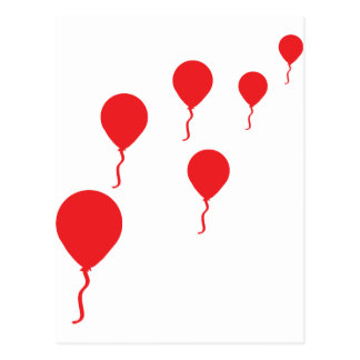 red party balloons icon postcard