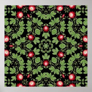 Red Passiflora Geometric Floral Print