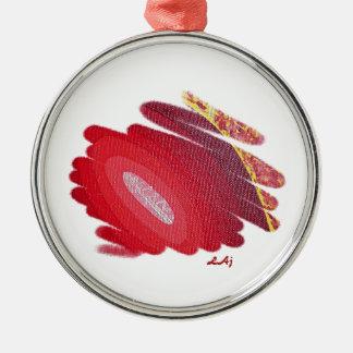 Red Passion Art Spirals Round Metal Ornament