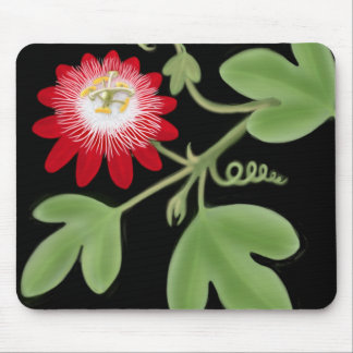 Red Passion Flower Vine Mousepad
